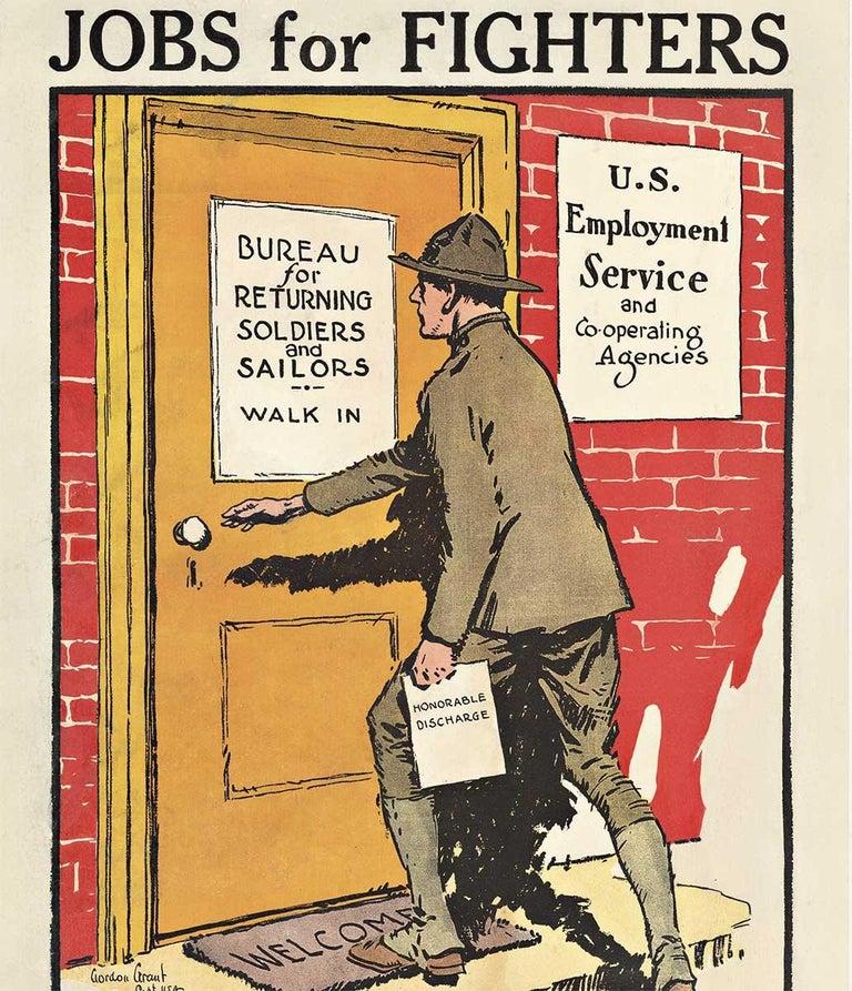 Jobs for Fighters original post World War 1 vintage American poster - Beige Print by Gordon Grant