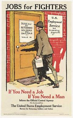 Jobs for Fighters original post World War 1 vintage American poster
