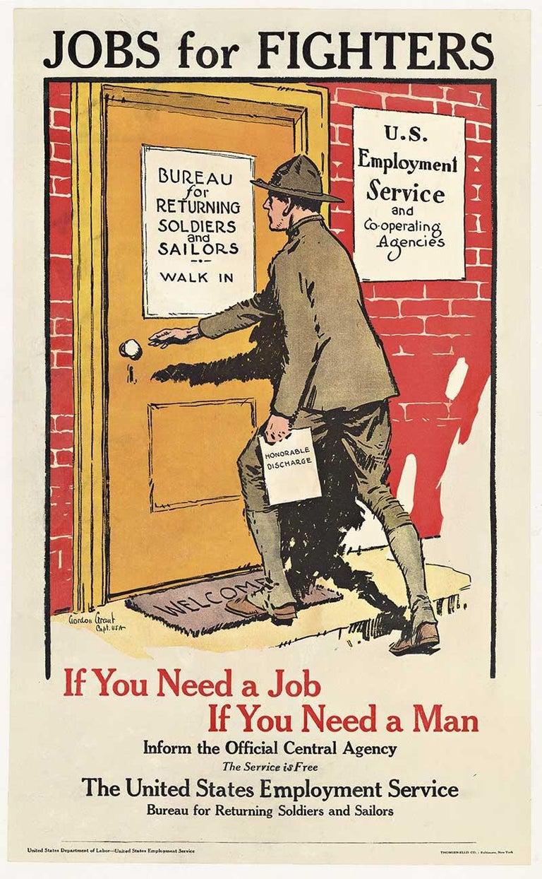 Gordon Grant Print - Jobs for Fighters original post World War 1 vintage American poster