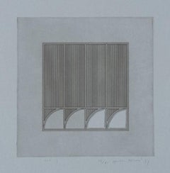 Gordon House, Arc 7, minimalist vintage etching, 1971