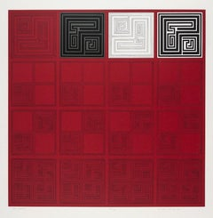 Gordon House, Red Matrices, geometric abstract screen print, 1967-68
