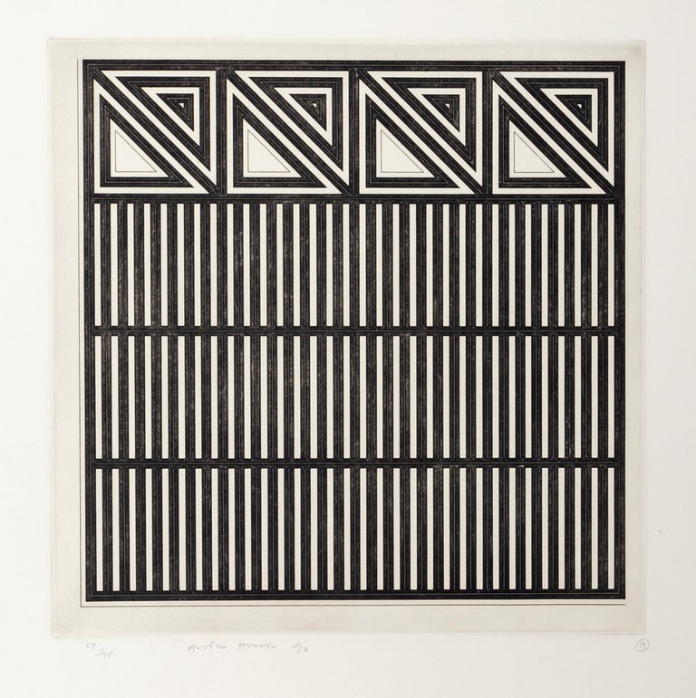 This print was created by Welsh artist Gordon House (1932-2004). House was a designer and painter whose hard-edged abstract works reflected the dramatic tensions of his graphic design. The etching is signed and numbered from an edition of 57/75, and