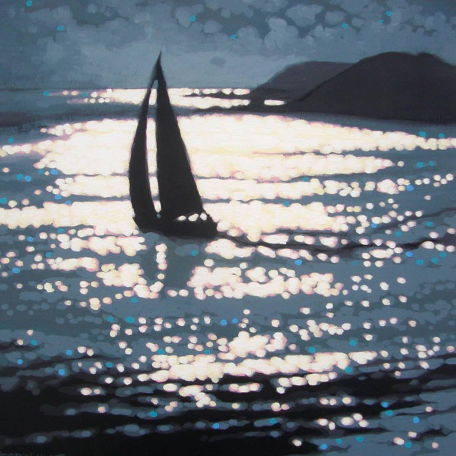 Across the Estuary, Gordon Hunt, Original Art, Boat Art, Impressionist Seascape
