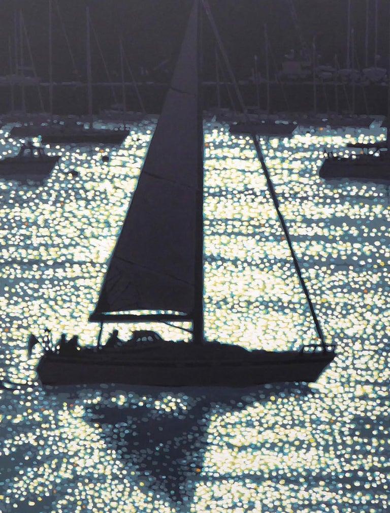 Dawn departure, impressionist style seascape, boat contemporary painting - Contemporary Painting by Gordon Hunt