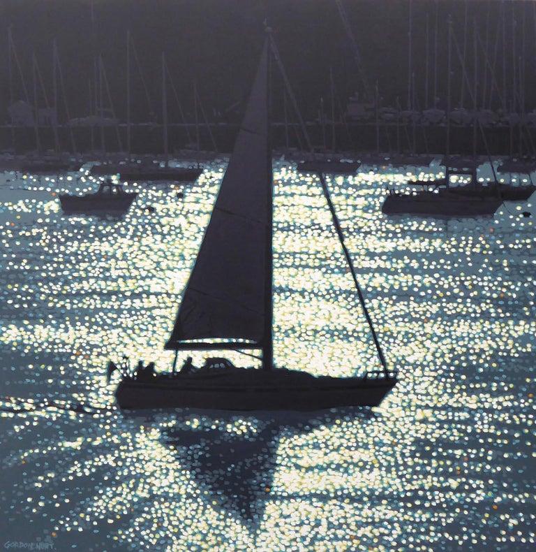 Gordon Hunt Landscape Painting - Dawn departure, impressionist style seascape, boat contemporary painting