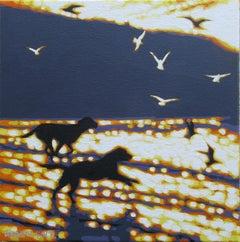 Gordon Hunt, A Run on the Beach, Original Painting, Seascape Art, Animal Art