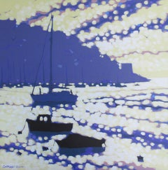 Gordon Hunt. Into the Harbour, Affordable Impressionist Paintin, Bright Boat Art