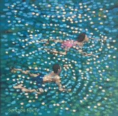 Gordon Hunt, Just Swim, IV, Original Bright Figurative Painting Contemporary Art