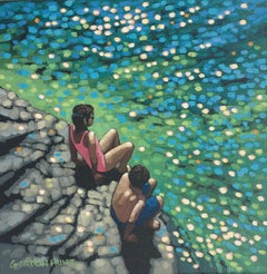 Gordon Hunt, Just Swim V, Original Impressionist Painting, Affordable Artwork