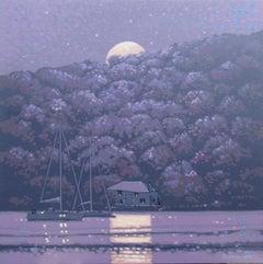 Gordon Hunt, Moonshine - Fowey, Cornwall, Seascape Art, Cornwall Art