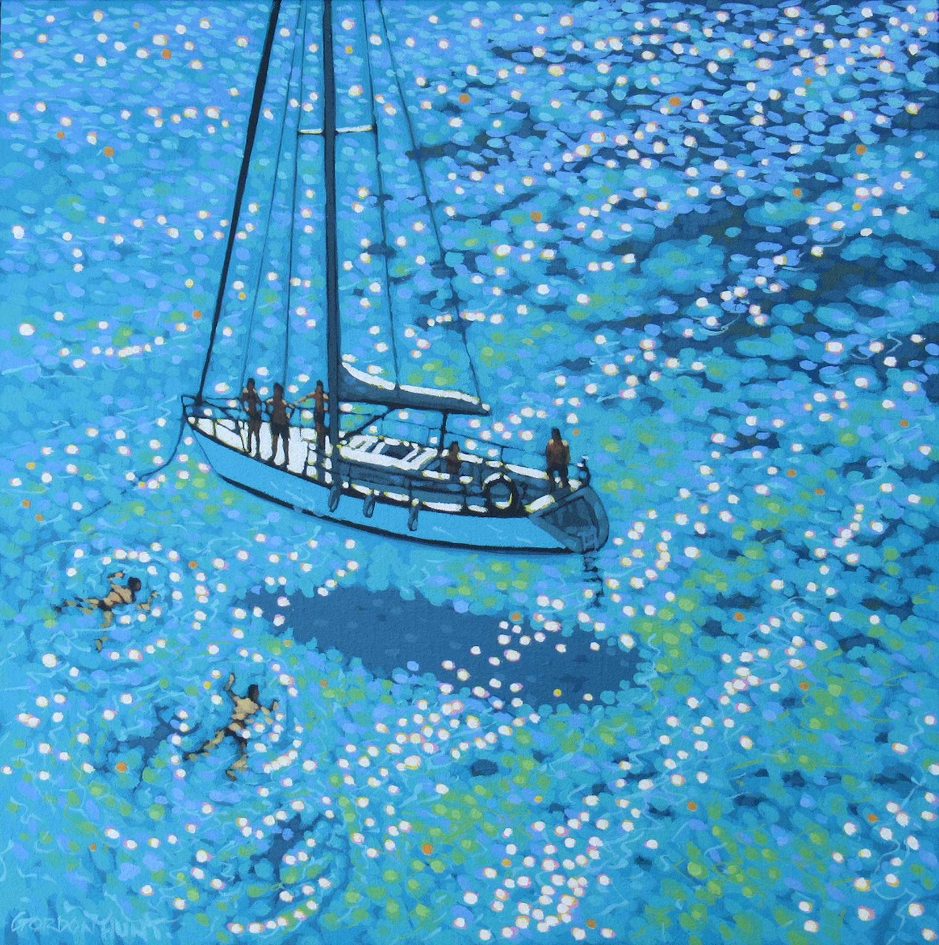 Gordon Hunt, Sailing swim, Seascape Art, Original Seascape Painting, Cornish Art