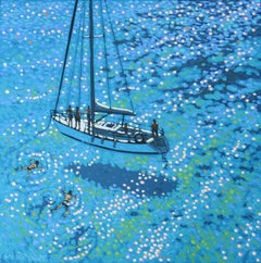 Gordon Hunt, Sailing swim, Seascape Art, Original Seascape Painting, Cornish Art