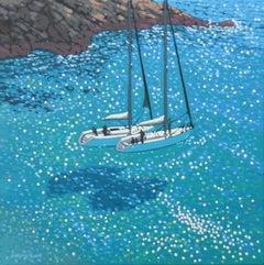 Gordon Hunt, Turquoise Cove Rendezvous, Contemporary Cornish Seascape Art