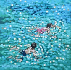 Just Swim, Gordon Hunt, Original Abstract Painting, Seascape Artwork, Affordable