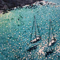 Turquoise Bay, Gordon Hunt, Limited Edition Print, Boating Art, Art of Cornwall