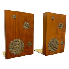 Gordon & Jane Martz for Marshall Studios Walnut and Tile Bookends