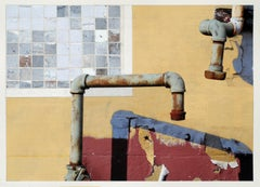 "Gold and red photorealist painting, ""Pipe Fiction"", Gordon Lee, mixed media"