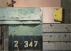 """Industrial Collage, """"Cleveland Avenue #3"""" (Mixed Media, Abstraction)"""