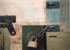 """mixed media, """"Cleveland Avenue #4"""" (Collage, Abstraction, Color Field)"""
