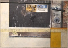 "mixed media collage with yellow and gray, ""Crawford Door"""