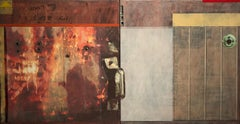 "mixed media on panel, ""Cleveland Avenue #1"", (Collage, Abstraction, Color Field)"