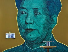 "Photorealist painting, ""Portrait of a Cloistered Mao"", Inspired by Andy Warhol"