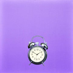 "Photorealist purple painting with alarm clock, Gordon Lee, ""High Time"""