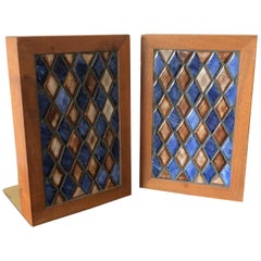 Gordon Martz Ceramic Diamond Pattern Ceramic Bookends