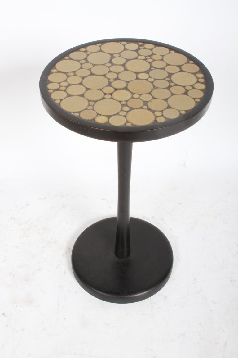 Mid-Century Modern Gordon Martz Ceramic Tile Top Pedestal or Occasional Table  For Sale