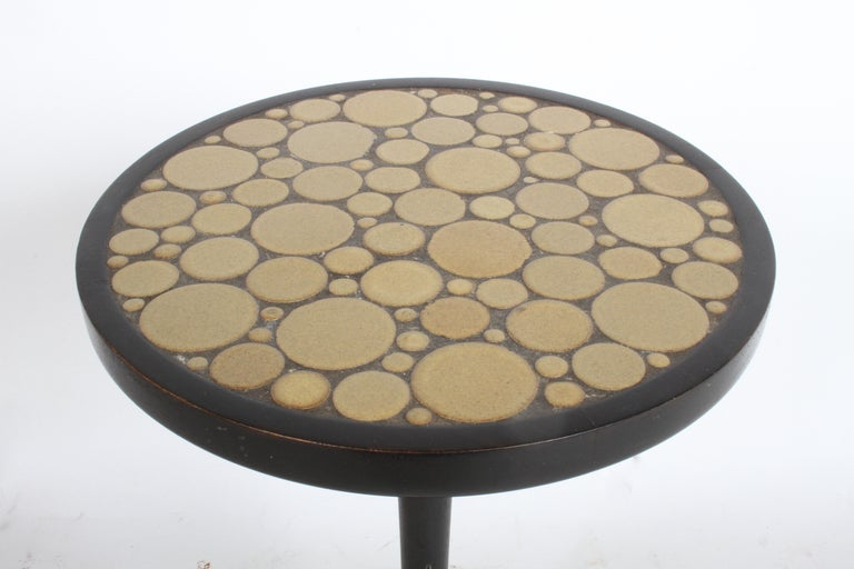 American Gordon Martz Ceramic Tile Top Pedestal or Occasional Table  For Sale