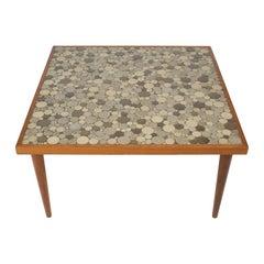 Gordon Martz Mid-Century Modern Green Circular Tile Top Square Table