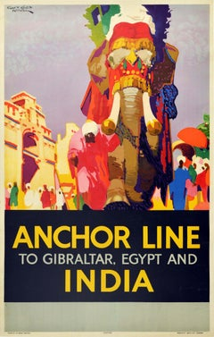 Original Vintage Cruise Travel Poster Anchor Line India Elephant Gibraltar Egypt