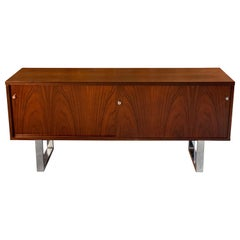 Gordon Russell Rosewood Sideboard by Trevor Chinn Chrome Sled Legs, circa 1970
