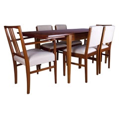 Gordon Russell Tulip Wood Dining Table with Chairs, British, c.1960s
