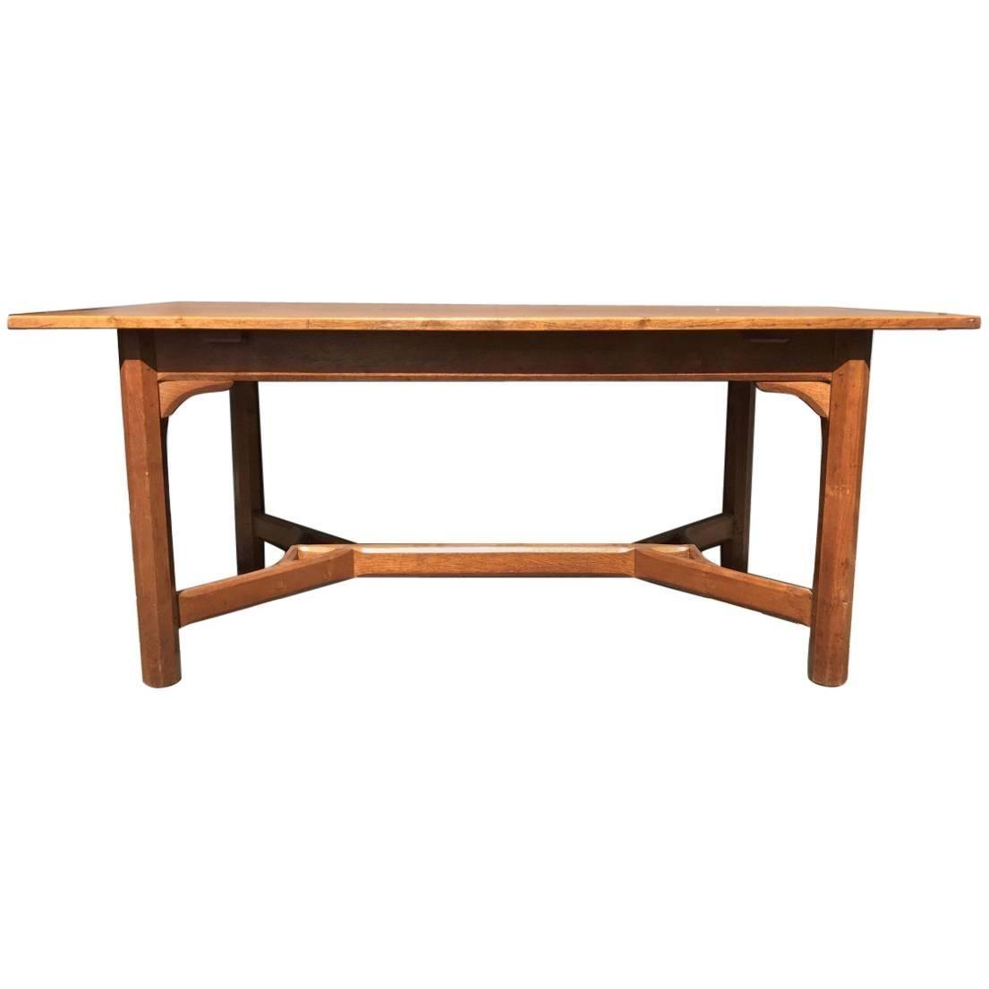 Gordon Russell, Arts & Crafts Cotswold School Oak Hayrake Stretcher Dining Table