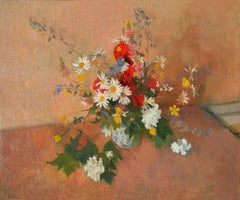 Summer Flowers - 20th Century, Oil paint, Still-Life Paintings by Gordon Scott