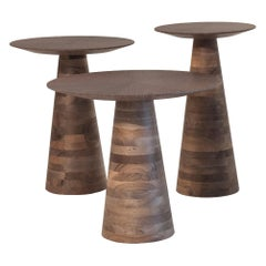 Goreme Side Tables, Solid Walnut Wood Side Tables