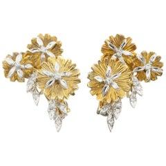 Gorgeous 0.30 Carat Diamond Flower Huggie Earrings in Two-Tone Gold