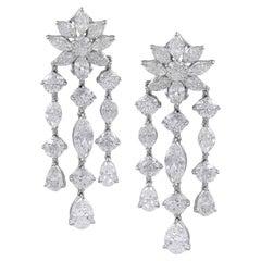 Gorgeous 12.94 Carat Platinum Diamond Earrings