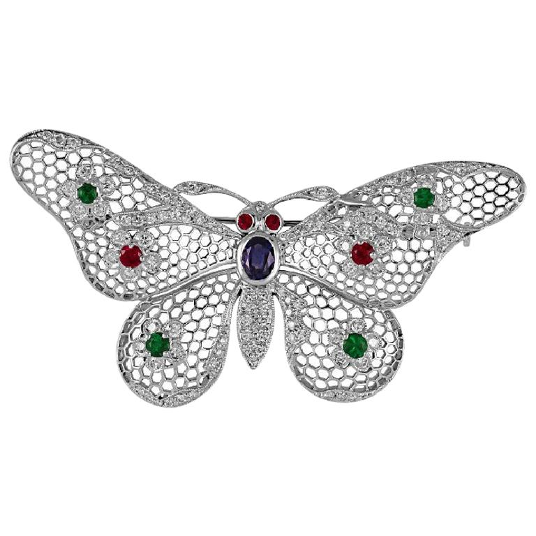 Gorgeous 1.61 Carat Platinum Ruby, Emerald, Sapphire & Diamond Butterfly Brooch