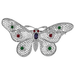 Gorgeous 1.61 Carat Platinum Ruby, Emerald, Sapphire & Diamond Butterfly Brooch