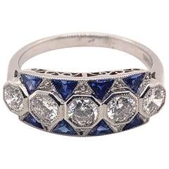 Gorgeous 1.67 Carat Platinum Sapphire Diamond Ring