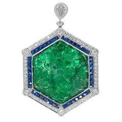 Gorgeous 16.92 Carat Platinum Emerald Hexagon Cut Sapphire and Diamond Pendant
