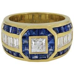 Gorgeous 18 Karat Gold Center Diamond 0.64 Carat with Sapphires Dome Ring