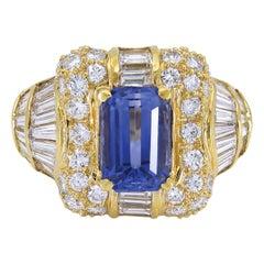 Gorgeous 18 Karat Gold Center Emerald Cut Sapphire with Diamonds Dome Ring