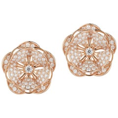 Gorgeous 18 Karat Pink Gold Flower-Shaped Statement Earrings with 242 Diamonds