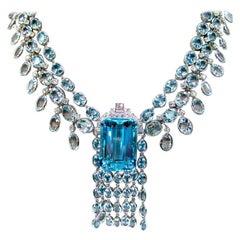 Gorgeous 18 Karat White Gold and 104.34 Carat Aquamarine and Diamond Necklace