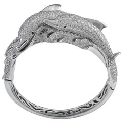 Gorgeous 18 Karat White Gold Dolphin Shaped 17.44 Carat of Diamonds Cuff