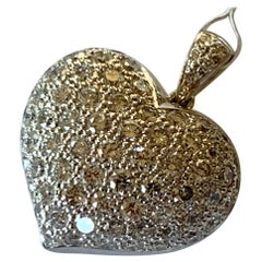 Gorgeous 18 Karat White Gold Pave 1.80 Carat Diamond Heart Pendant