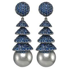 Gorgeous 18 Karat White Gold Sapphire Pearl Earrings